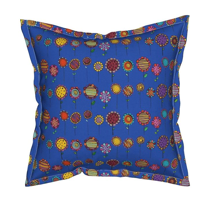 Serama Throw Pillow featuring BLOOMING  FLOWERS HAPPY AND NAIVE BLUE by paysmage   Roostery Home Decor