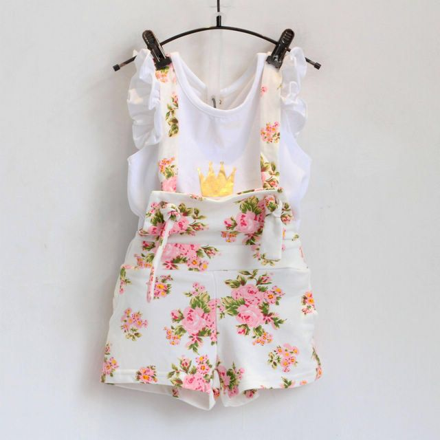 New fashion girls clothes set summer crown shite shirt with floral overall skirt set suit for baby girl children clothes suit