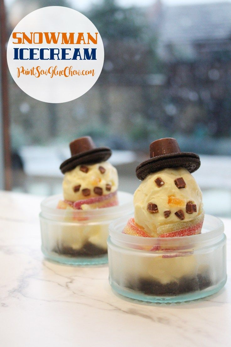 Cute and Easy Snowman Ice Cream
