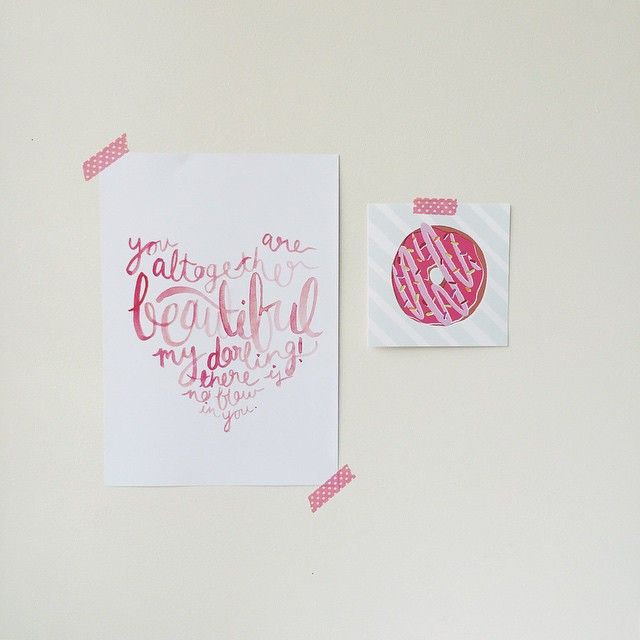 Our 'You Are Altogether Beautiful' print looking extra sweet with the @abeautifulmessofficial donut card from their #abmhappymail pack!