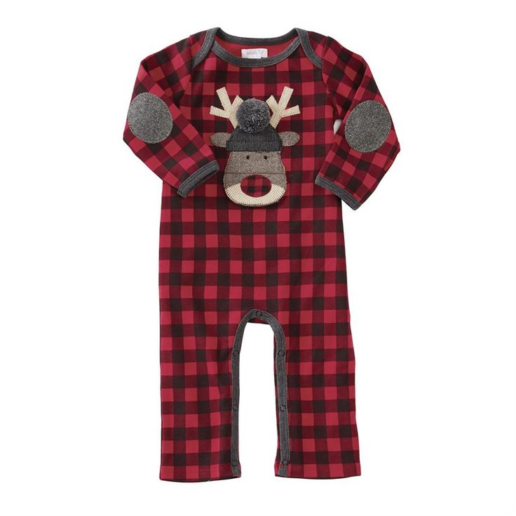 Long sleeve buffalo check one-piece features herringbone tweed elbow patches, contrast ribbed binding, inner leg snap closure and tweed reindeer applique with buffalo check nose, sweater knit hat with dimensional pom-pom topper and embroidered eyes. Mouth opens to reveal felt tongue and embroidered peppermint snack!