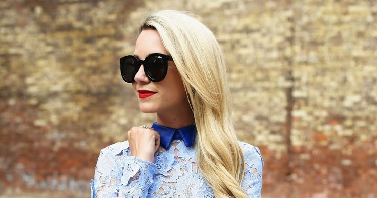 Dress: Self Portrait  ( also love this one ). Shoes: Prada ( similar here ). Lips: Stila 'Beso' . Sunglasses: Karen Walker 'Super Dupe...
