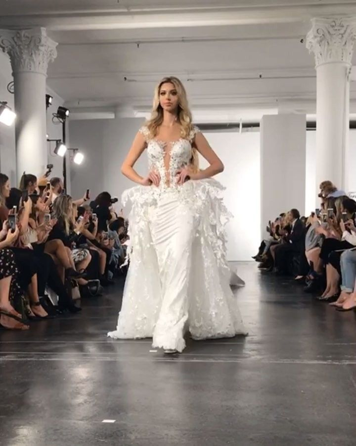 """7bf4a972 Pnina Tornai on Instagram: """"Reminiscing on the #FragileCollection runway  show… Select styles available @kleinfeldbridal ."""