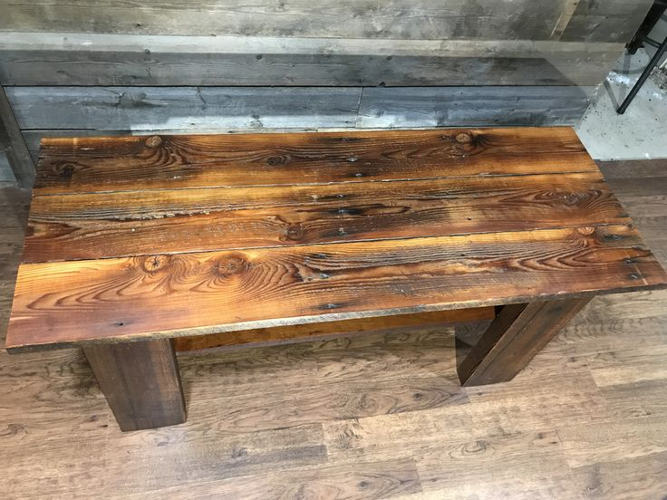 Hand made barn board table with a cherry shelf and barn beam legs. for sale on my etsy page EverythingWoodByBen