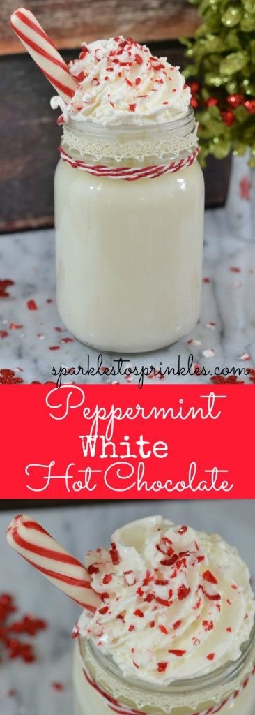 This peppermint white hot chocolate is a copycat of Starbucks peppermint white hot chocolate.  Minus the expensive price and inconvenience of running to go get it. Delicious and creamy! Pin for Later!