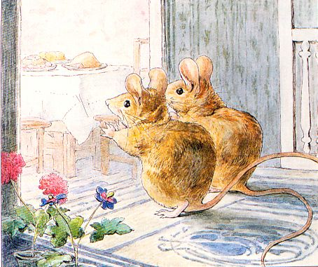 "From ""The Tale of Two Bad Mice"" by Beatrix Potter - ""Tom Thumb and Hunca Munca went upstairs and peeped into the dining-room. Then they squeaked with joy!"" Such a lovely dinner was laid out upo..."