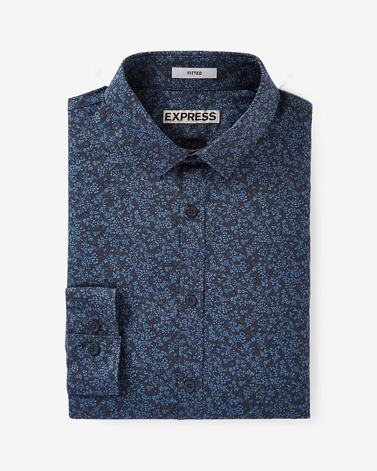 fitted floral print long sleeve dress shirt
