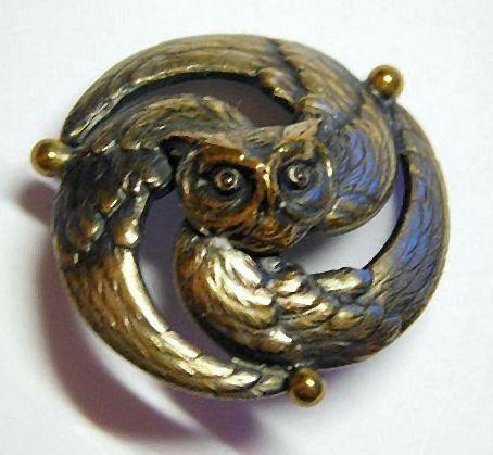 Brass Owl Button