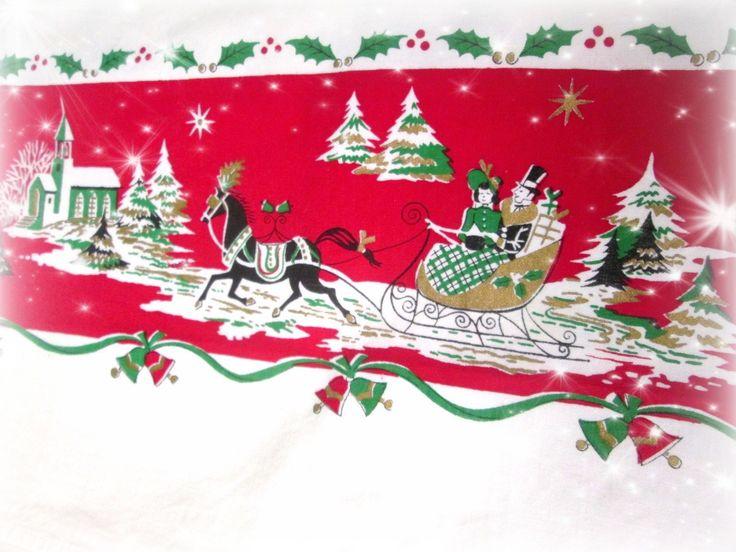 Vintage Sleigh Ride Christmas Tablecloth  vintagelinens.etsy.com