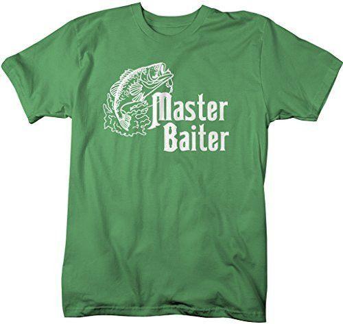 Shirts By Sarah Men's Funny Fishing T-Shirt Master Baiter Offensive Shirts