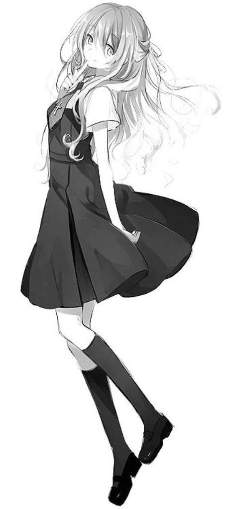 Black and white female anime/manga character, wearing a black dress school uniform. Cute!