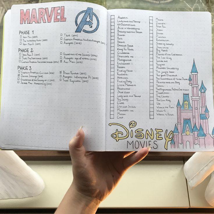 Disney und Wunderfilme Disney Castle alle Wunderphasen für Bullet Journal #bul … – Marvels