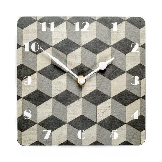 Grey Wall Clock Art Deco Wall Clock Birthday Gift by EInderDesigns