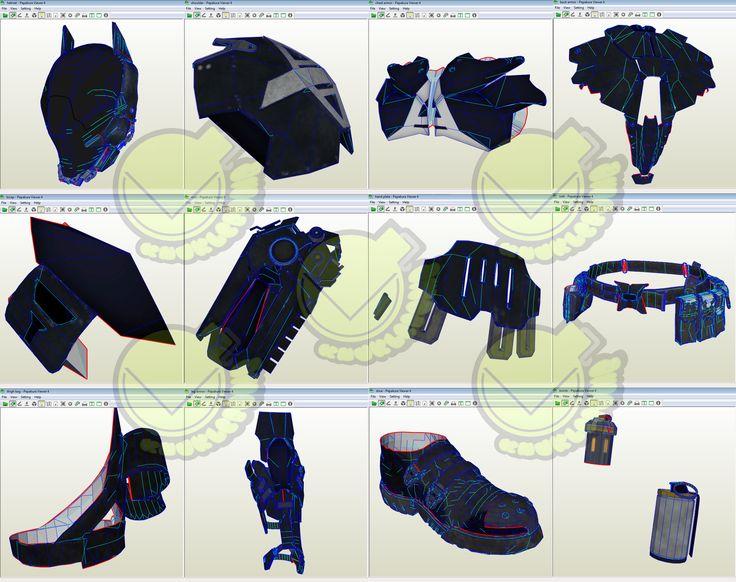 Arkham Knight Costume Template / Pattern Pepakura 3D Model
