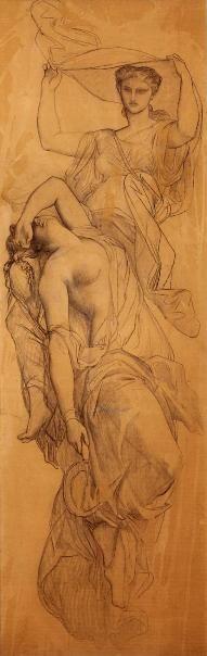 Alexandre Cabanel (1823-1889), les heures. Fusain, lavis d'aquarelle. Montpellier, Musee Fabre