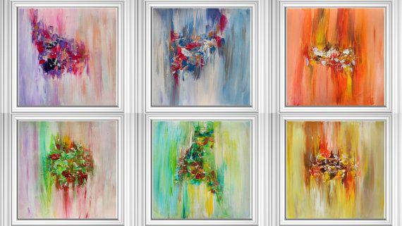 80 palců, Diptych Malba, dvě čtvercové tisky, Minimalistický Umělecká reprodukce, abstraktní malby, Huge Wall Art, Velký Umělecké plátno, oranžová, žlutá, modrá