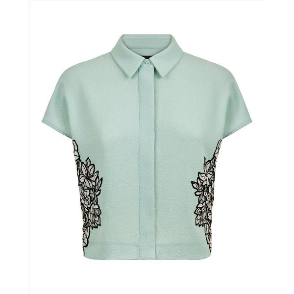 Jaeger Jaeger Lace Panel Cropped Blouse (4.705 UYU) ❤ liked on Polyvore featuring tops, blouses, shirts, crop tops, cropped shirts, green blouse, green shirt, floral crop tops and wrap crop top