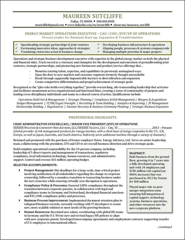 National award winning executive resume examples - Chief operating officer qualifications ...