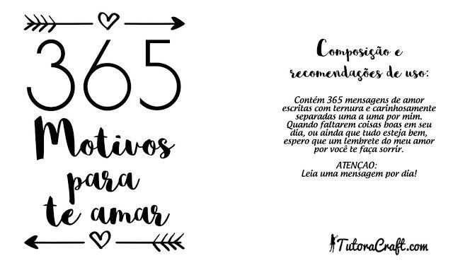 365 Motivos Para Te Amar Para Imprimir Com Imagens Presentes