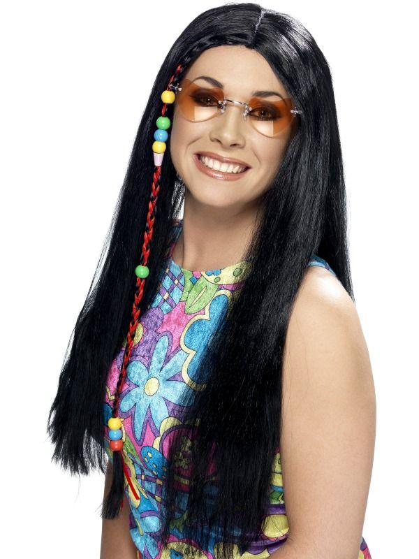 Musta hippiperuukki. Sisältää peruukin hiuskorulla.