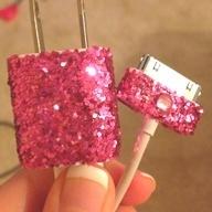 Art DIY Glitter Phone Charger crafts-diys