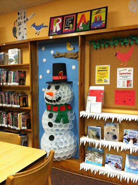 The Mt. Healthy branch had a full-size snowman made out of plastic cups this past winter!