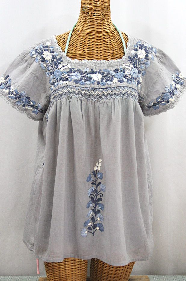 """La Marina Corta"" Embroidered Mexican Peasant Blouse - Shades of Grey"