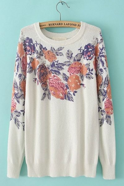 Floral Graphic Sweater OASAP.com