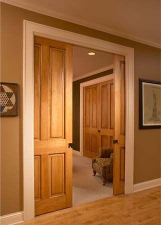 White trim and wood doors