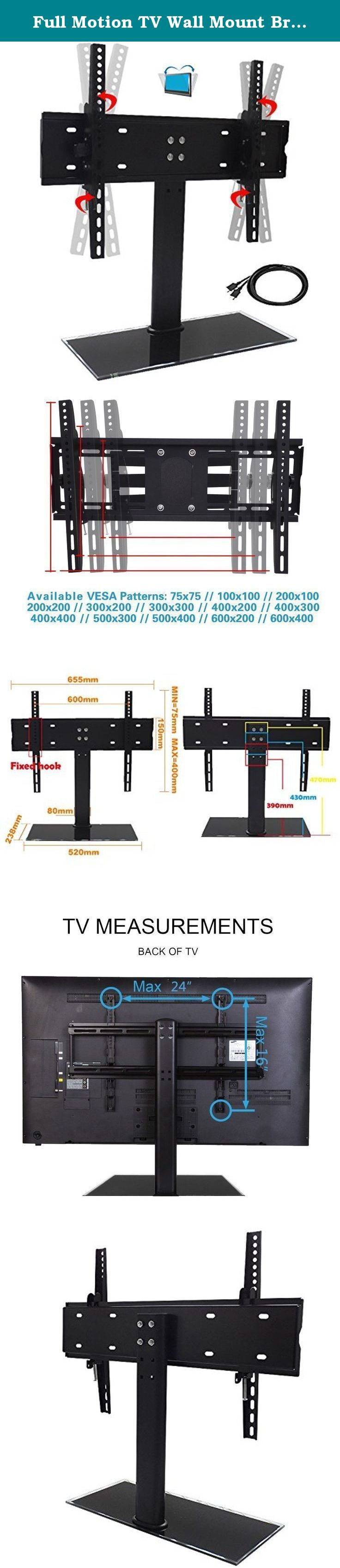 "Full Motion TV Wall Mount Bracket for 17"" - 75"" Plasma, LCD and LED Flat Screen Televisions (TV Stand with Shelf, 17"" - 55""). Before bidding the item, please check whether the TV Stand is suitable for your TV. ★★★ Please check the weight of your TV; it should be less than 78 lbs/35kg. ★★★ Look at the back of your TV, find the mounting hole and measure horizontal and vertical distance, if the horizontal distance(width) within 24""(600mm), vertical distance(height) is within 16""(400mm), then…"