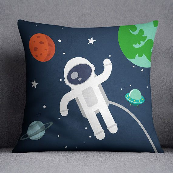 Space pillow cover, Universe, Astronaut, Planet, Custom text pillow,Personalised gift, for Kids, Pillow case, Stars pillow, 20x20, 16x16