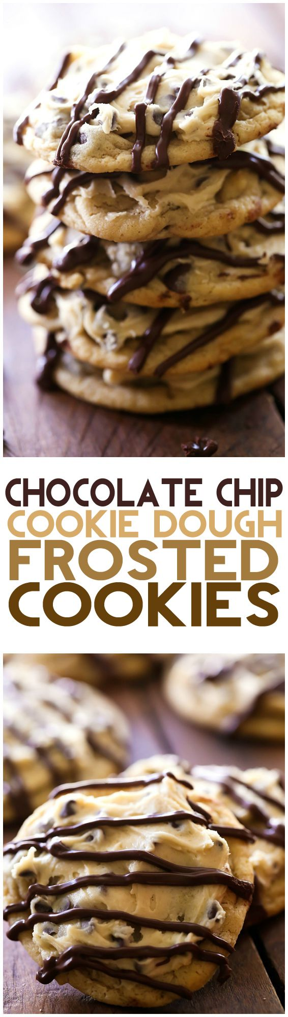 Chocolate Chip Cookie Dough Frosted Cookies... these are a chocolate chip cookie lover's dream come true! The cookie and a cookie dough frosting- its like the best of both worlds!