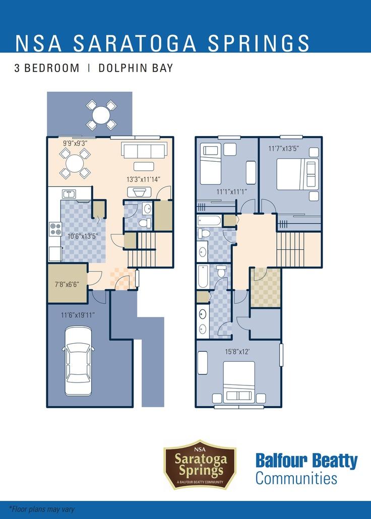 Nsa saratoga springs dolphin bay neighborhood 3 bedroom for 3 bedroom townhouse plans