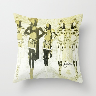 The cow girls... Throw Pillow by Helena Hotzl - $20.00