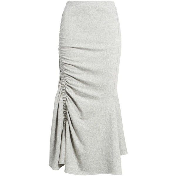 Women's Chelsea28 Ruched Fluted Midi Skirt (1.797.960 VND) ❤ liked on Polyvore featuring skirts, pleated midi skirt, calf length skirts, midi flare skirt, jersey skirt and asymmetrical skirt