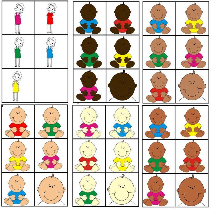 matrix  de baby: kleur kledij mama combineren met huidskleur baby om zo de juiste baby's per mama te vinden