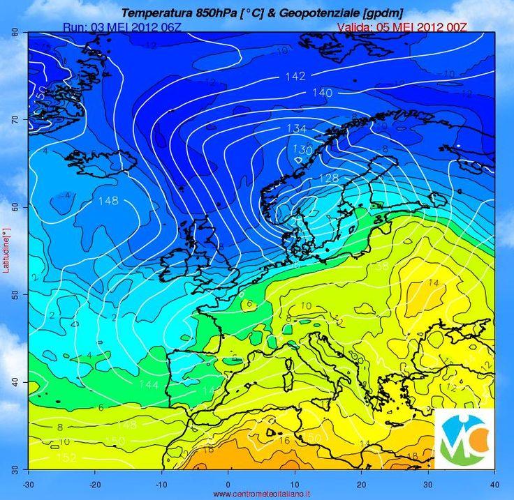 Geopotenziale e temperatura attesi ad 850 hPa alle 00 UTC del 5 Maggio 2012. Modello GFS-CMI Europa Run 06 UTCdel 3 Maggio 2012