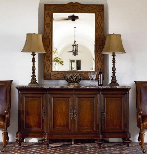 Ernest Hemingway Corrida Leather Wrapped Mirror by Thomasville® - Darvin Furniture - Wall Mirror Orland Park, Chicago, IL