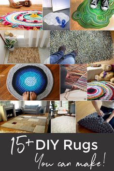 Making your own rug is possible! Over 15 DIY Rug Ideas like a latch-hook t-shirt rug, a faux fur rug, and budget-friendly area rugs.