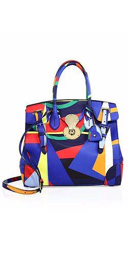 Ralph Lauren Soft Ricky 33 Abstract-Print Faux Leather Satchel