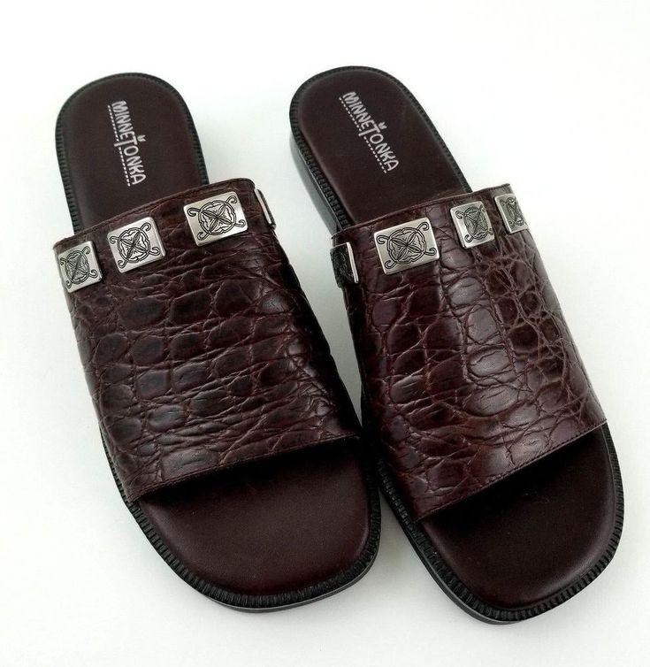 MinneTonka Sandals Womens Size 10 Dark Brown Leather 5523 Slide Slip On Low Heel #Minnetonka #SlipOns #Any