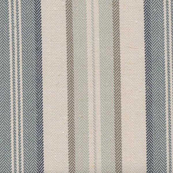 "This beautiful 1/4""-1"" alternating blue, ivory and gray striped linen blend drapery fabric, suitable for any decor in the home or office. Perfect for drapes and pillows.v244PPEF"