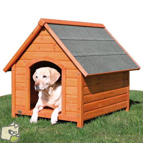 Niche pour chien en pin lazuré, parfaite pour abriter votre chien dans le jardin