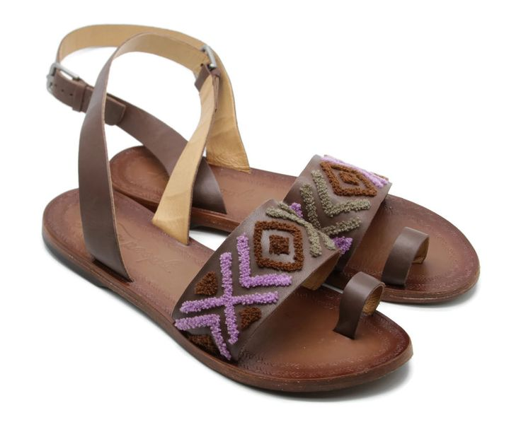 Free People Women's Torrence Flat Brown Leather Sandals Shoes Ankle Straps Sz 40 #FreePeople #AnkleStrap #Casual