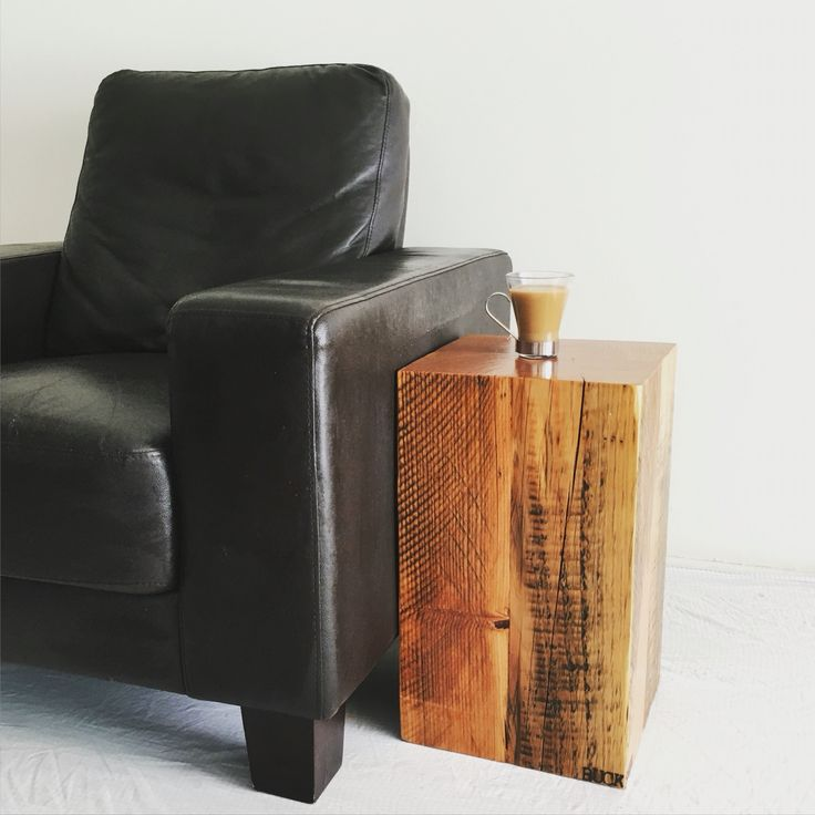 Reclaimed wood Douglas fir side table beam block stool