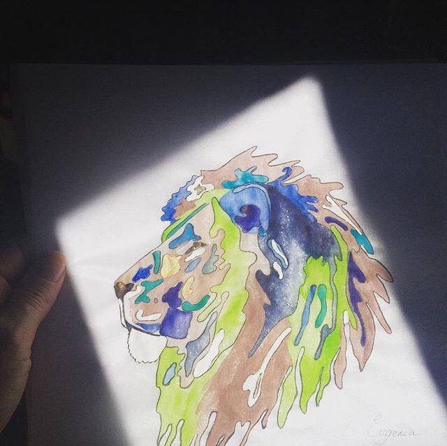 Lion illustration. Watercolors on silk