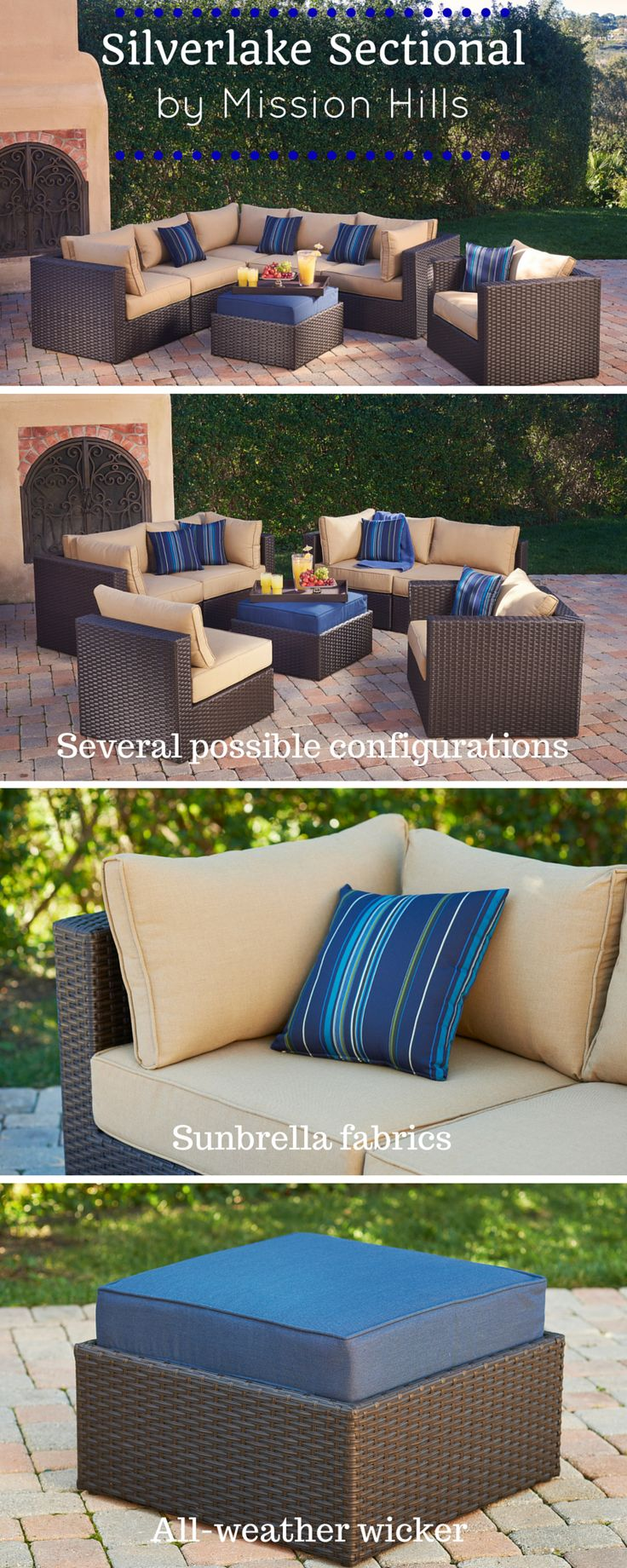 The Silverlake Sectional Set   Beautiful Indigo Colors, All Weather Wicker,  And Design Versatility Make This The Perfect Patio Furniture!