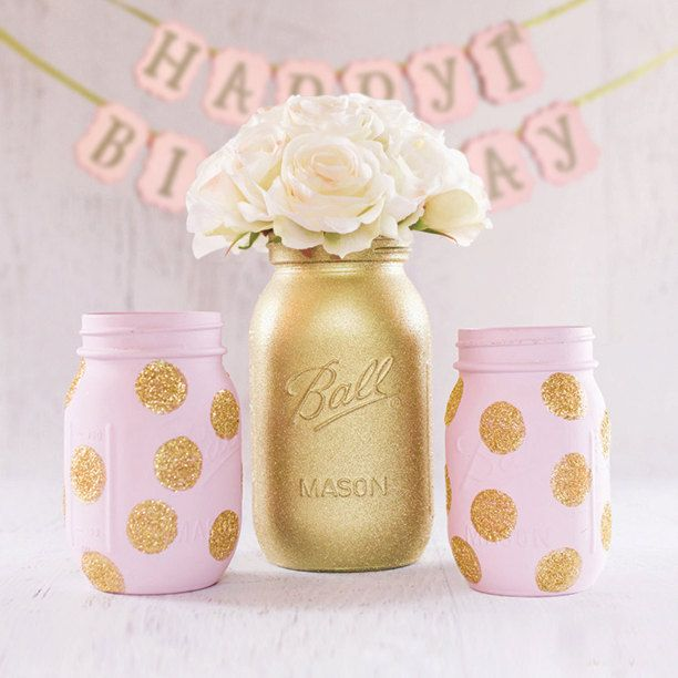 pink and gold birthday gold glitter mason by TheShabbyChicParty