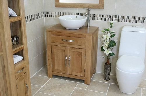 Solid Oak Bathroom Vanity Furniture Unit Sink Cabinet Ceramic Bowl Sink Tap Plug | eBay