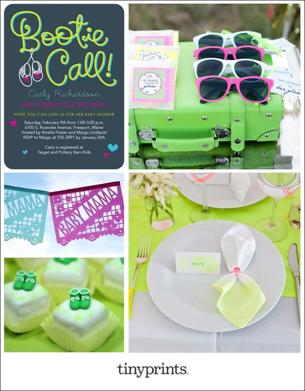 Mom-to-be and guests alike will get a kick out of this cheeky baby shower invitation. Playfulpops of neon and a darker base color are anunconventional palette that'll have your glowing guest of honor grinning.